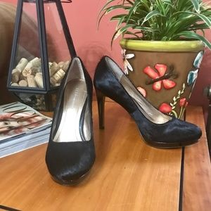 BCBG black pony hair and patent stiletto pumps